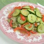 Steamed Zucchini with Bell Pepper, Onion & Sesame Seeds