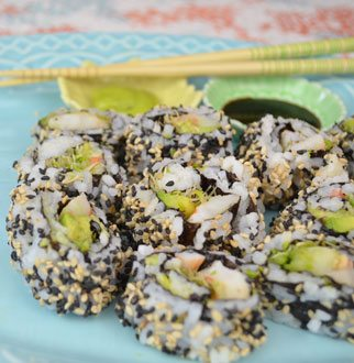 Sushi Roll with Shrimp, Avocado & Black/White Sesame Seeds