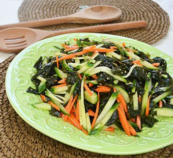 Light Seaweed, Cucumber, Carrot Salad with Sesame Seed Dressing