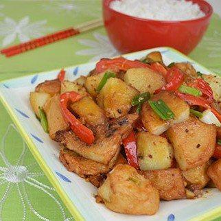 Potato with Japanese Fish Cake in Savory Sesame Marinade