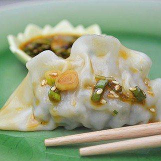 Shrimp & Cilantro Dumplings with Hot Chili Sesame Dressing