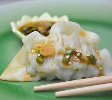Shrimp & Cilantro Dumplings with Hot Chili Sesame Dressing