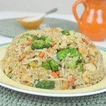 Fried Brown Rice with Chicken, Broccoli, Carrot & Bean Sprouts!