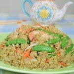 Quinoa with Shrimp, Snap Peas, Ginger, Bean Sprouts & Carrot
