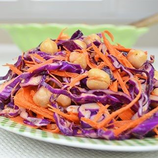 Red Cabbage, Carrot & Garbanzo Bean Salad in Ginger Lime Sesame Dressing