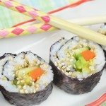 Vegan Sushi Roll with Avocado, Carrot and Cucumber