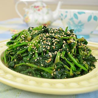 Spinach Side Dish in Miso Sesame Garlic Marinade