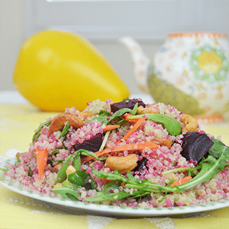 Quinoa Salad with Beets, Arugula, Spinach, Carrot and Cashews in Lemon Garlic Vinaigrette