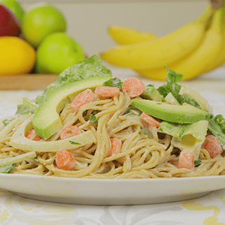 Gluten Free Chickea Pea Pasta Salad with Almond Butter Garlic Dressing