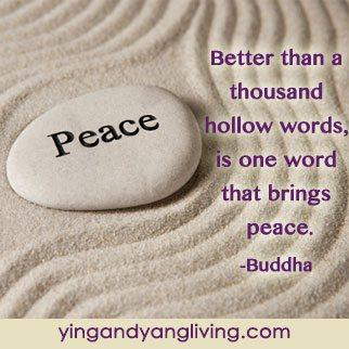 Zen Message Peace Rock on Sand Buddha