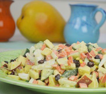 Summer Egg, Fruit & Vegetable Salad with Japanese Wasabi Dressing
