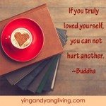 Zen Message: Heart Coffee on Stacked Books – Buddha