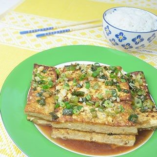 Crispy Golden Pan Fried Tofu in Sesame Seed Soy Sauce