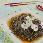 Soba Noodles in Cool Lime & Soy Sauce Broth with Chicken & Fresh Asian Turnip