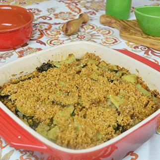 Vegan Gluten-Free Sweet Potato Kale Casserole with Coconut Milk & Chick Pea Crumbs