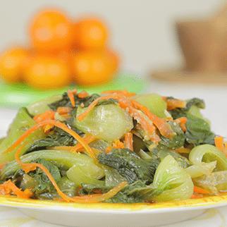Baby Bak Choy Steam Cooked in Miso Sesame Garlic Dressing