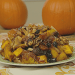 Roasted Pumpkin with Walnuts, Dried Fruit, Coconut Flakes in Maple Syrup Glaze