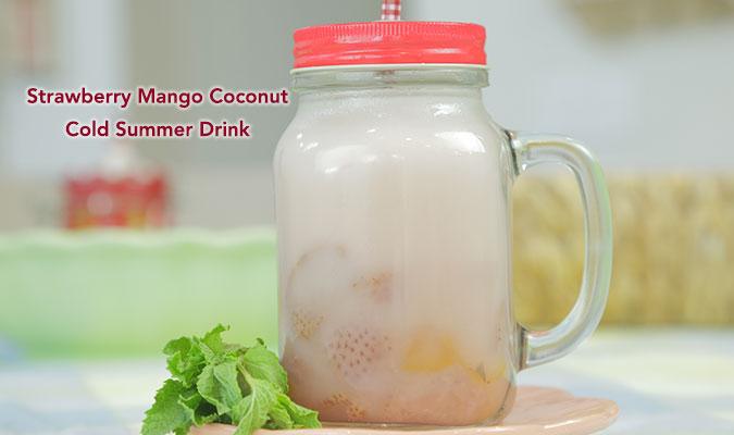 Strawberry Mango Coconut Cool Summer Drink