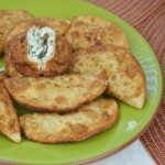 Pan Fried Crispy Wontons with Chive & Cream Cheese Filling