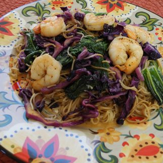 Capinelli Sesame Noodles with Shrimp, Bak Choy and Red Cabbage