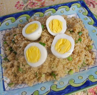Quinoa with Soy Sauce and Hard Boiled Eggs