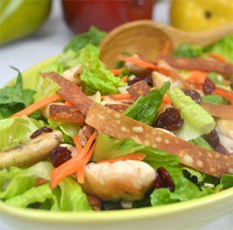 Crispy Wonton Chicken Salad with Orange Sesame Vinaigrette