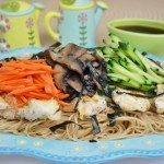 Spaghetti with Grilled Chicken & Fresh Vegetables Dressed with Japanese Ponzu Sauce