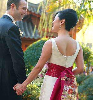 Wedding Dress with a Kimono Flair!