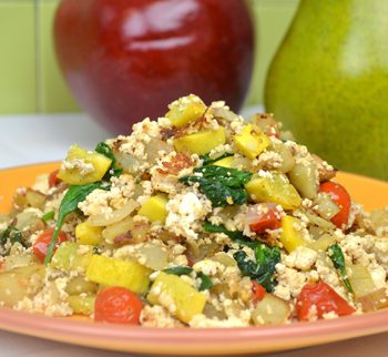 Scrambled Tofu with Potato, Tomato, Yellow Zucchini, and Spinach