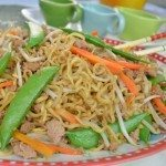 Sauted Ramen Noodles with Ground Turkey, Bean Sprouts, Snow Peas & Carrot